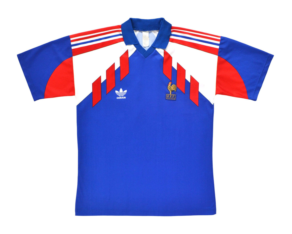 1990-92 Adidas France Home Shirt L - Football Shirt Collective
