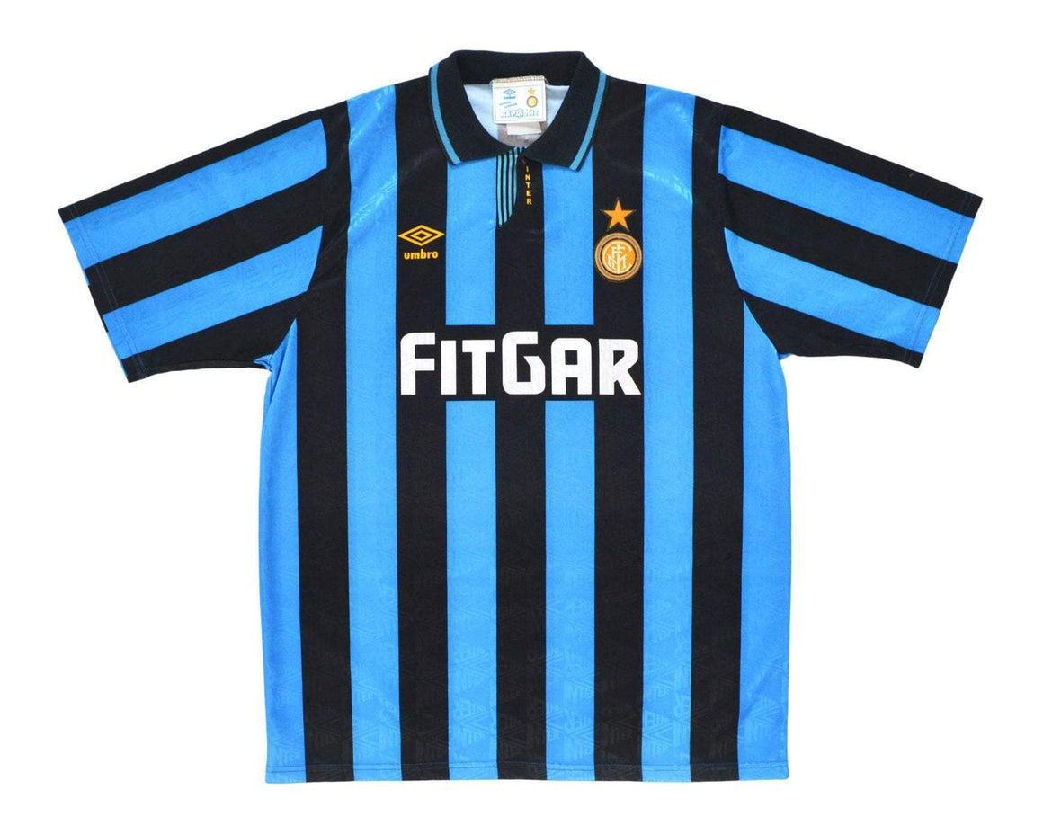1991-92 Umbro Inter Milan Home Shirt '6' XL - Football Shirt Collective