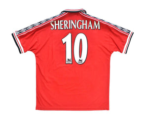 1998-00 Umbro Manchester United Home Shirt XL 'Sheringham 10' - Football Shirt Collective