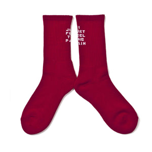 "SHUKYU × CITY BOYS FC ""I JUST FEEL THE PAIN"" SOCKS [RED] - Football Shirt Collective"