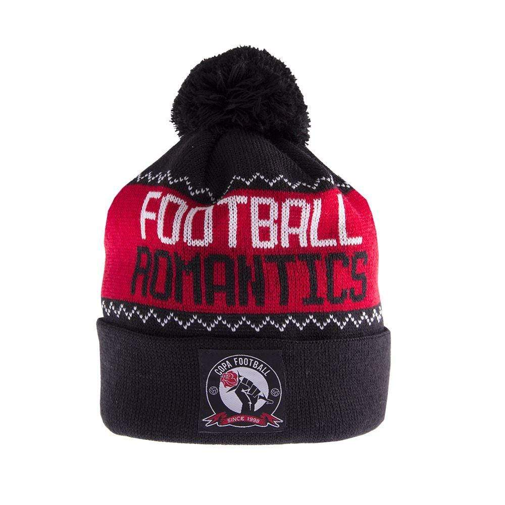 Football Romantics Bobble Hat | Black-White-Red - Football Shirt Collective
