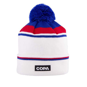 Keegan England Bobble Hat | White Red Blue - Football Shirt Collective