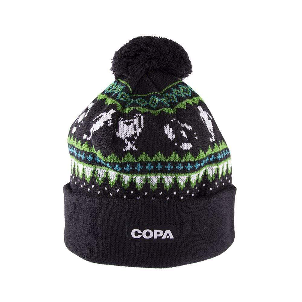 Nordic Knit Bobble Hat | Black-Green-Blue-White - Football Shirt Collective