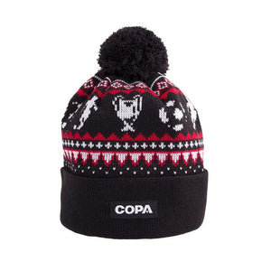 Nordic Knit Bobble Hat | Black-Red-White - Football Shirt Collective