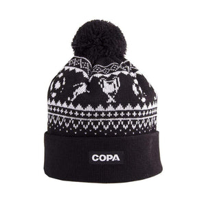 Nordic Knit Bobble Hat | Black-White - Football Shirt Collective