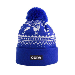 Nordic Knit Bobble Hat | Blue-White - Football Shirt Collective