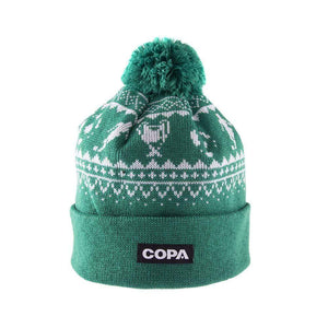 Nordic Knit Bobble Hat | Green-White - Football Shirt Collective