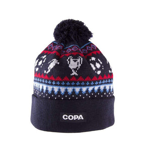 Nordic Knit Football Bobble Hat | Navy Blue-Red-Blue-White - Football Shirt Collective