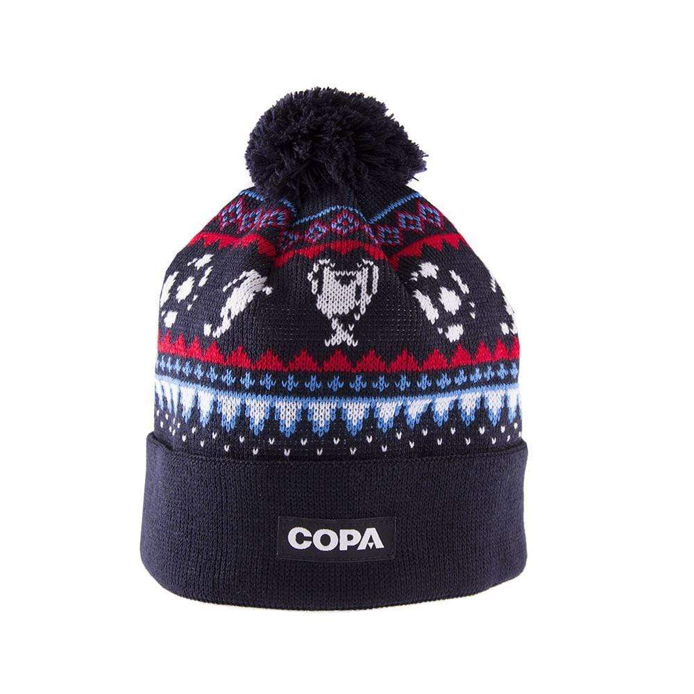 COPA Nordic Knit Football Bobble Hat | Navy Blue-Red-Blue-White