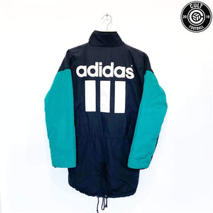 Cult Football 1993/95 LIVERPOOL Style Vintage adidas Football Bench Coat Jacket (S) 34/36