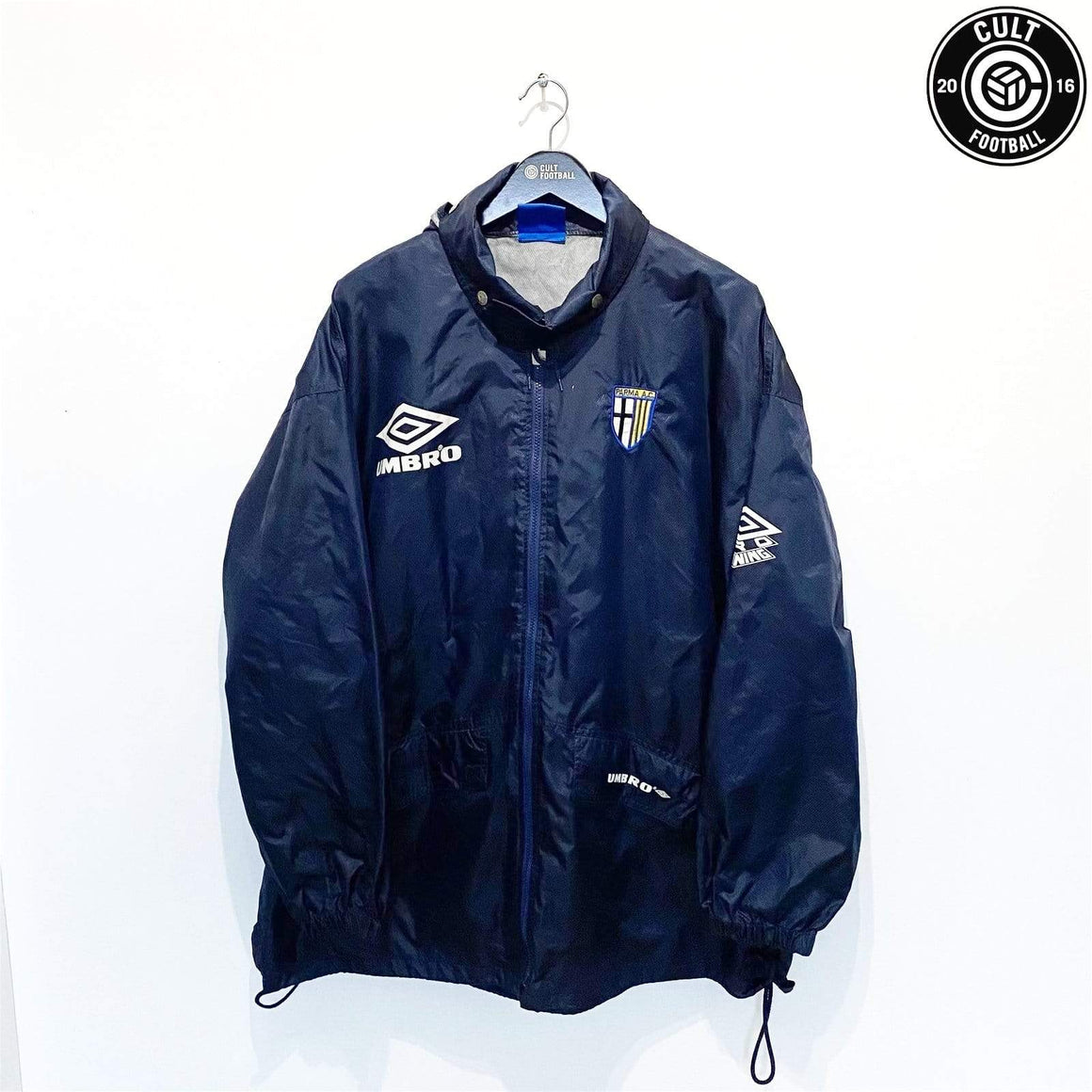 Cult Football 1993/95 Parma Vintage Umbro Football Training Rain Jacket Coat (XL) Zola Era