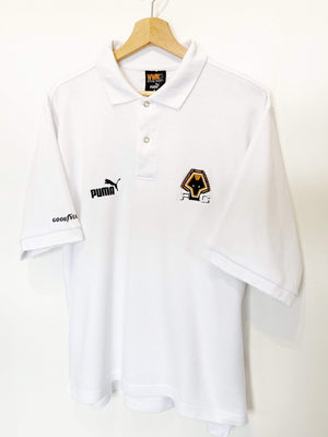 Cult Football 1996/98 Wolverhampton Wanderers Vintage PUMA Football Polo Shirt (L) Bull Era
