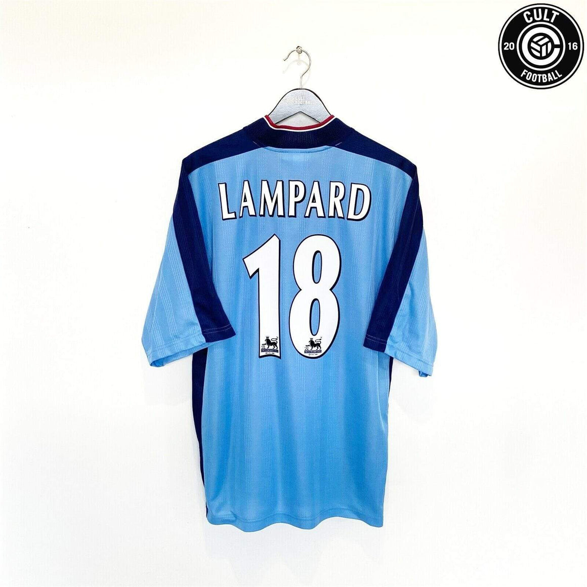 Cult Football 1997/98 LAMPARD #18 West Ham United Vintage Pony Away Football Shirt Jersey (XL)