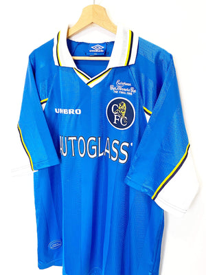 Cult Football 1997/99 ZOLA #25 Chelsea Vintage Umbro CUP WINNERS CUP FINAL Football Shirt XXL
