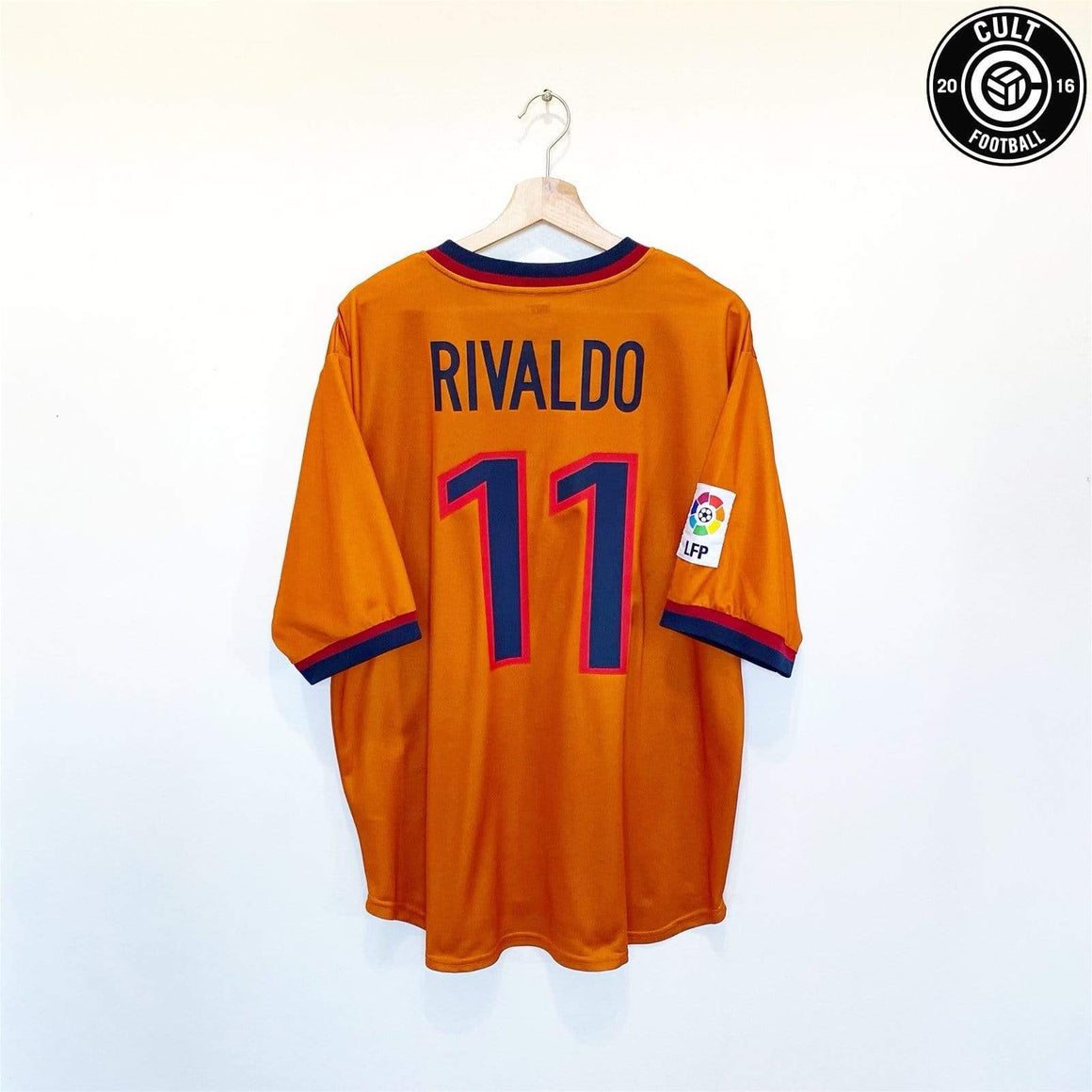 Cult Football 1998/00 RIVALDO #11 Barcelona Vintage Nike Away Football Shirt Jersey (XL) Brazil