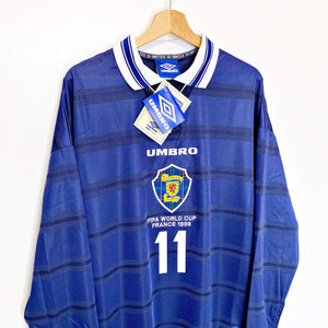 Cult Football 1998 COLLINS #11 Scotland World Cup 98 Vintage Umbro Home Football Shirt (XL)