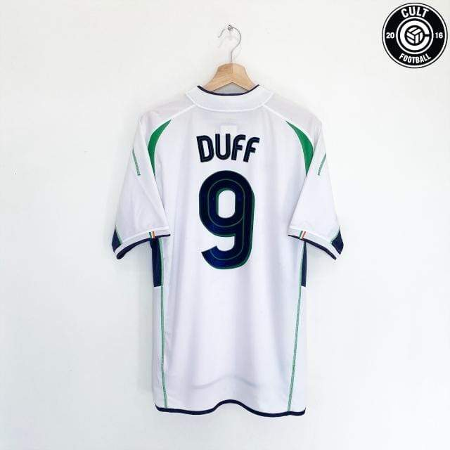 Cult Football 2002/03 DUFF #9 Ireland Vintage Umbro Away Football Shirt (L) 2002 Blackburn