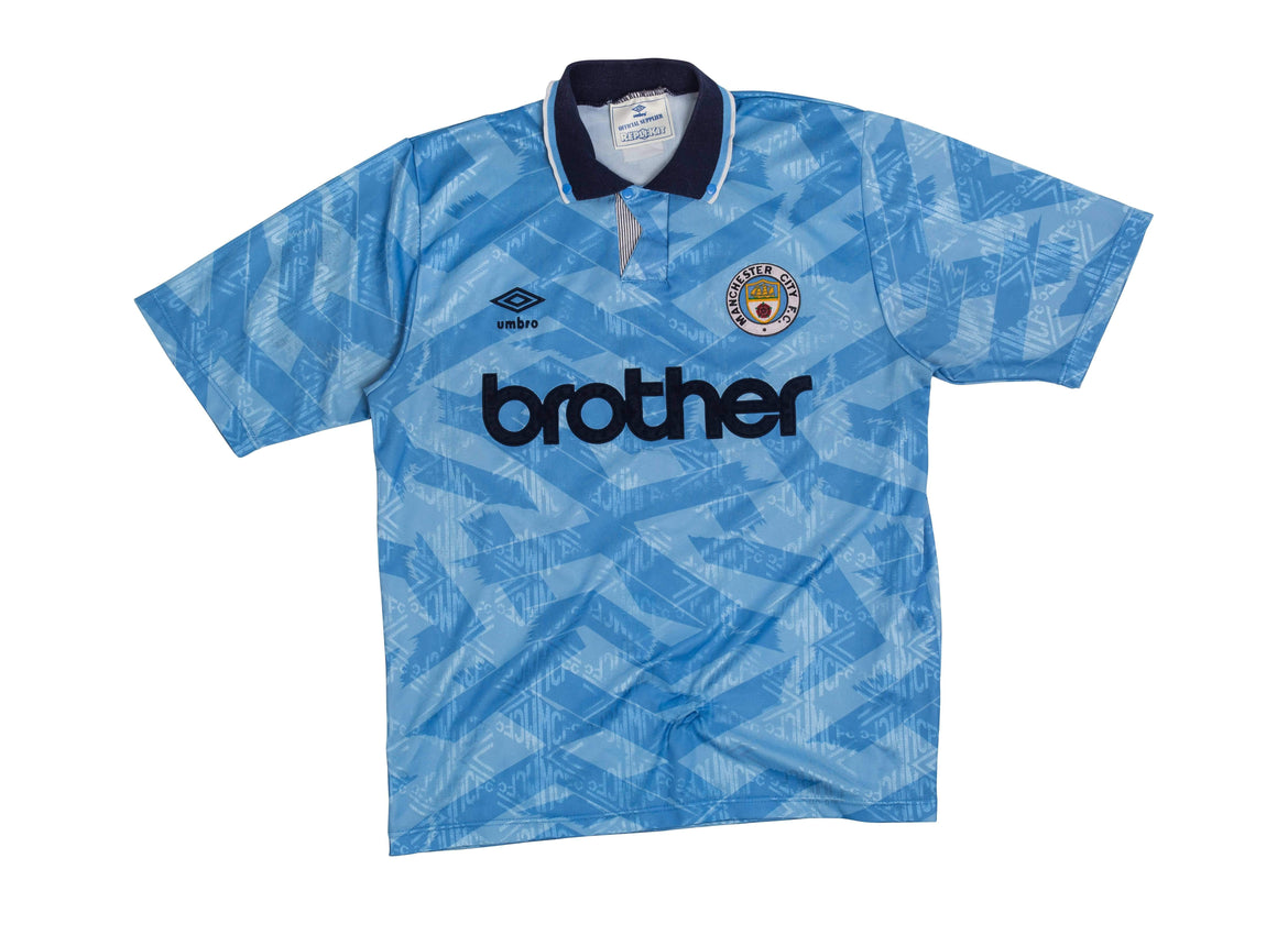 1991-93 Manchester City Home Shirt L - Football Shirt Collective