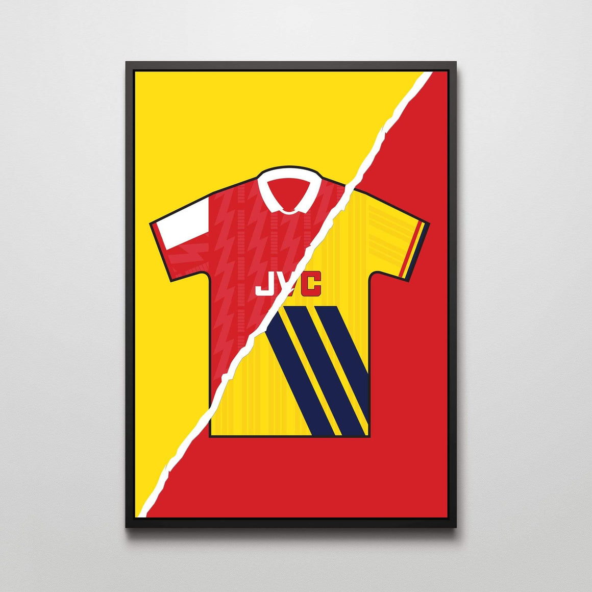 Arsenal home and away football shirt print - by Mark Johnson - Football Shirt Collective