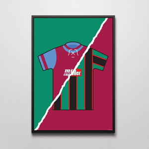 Aston Villa home and away football shirt print - by Mark Johnson - Football Shirt Collective