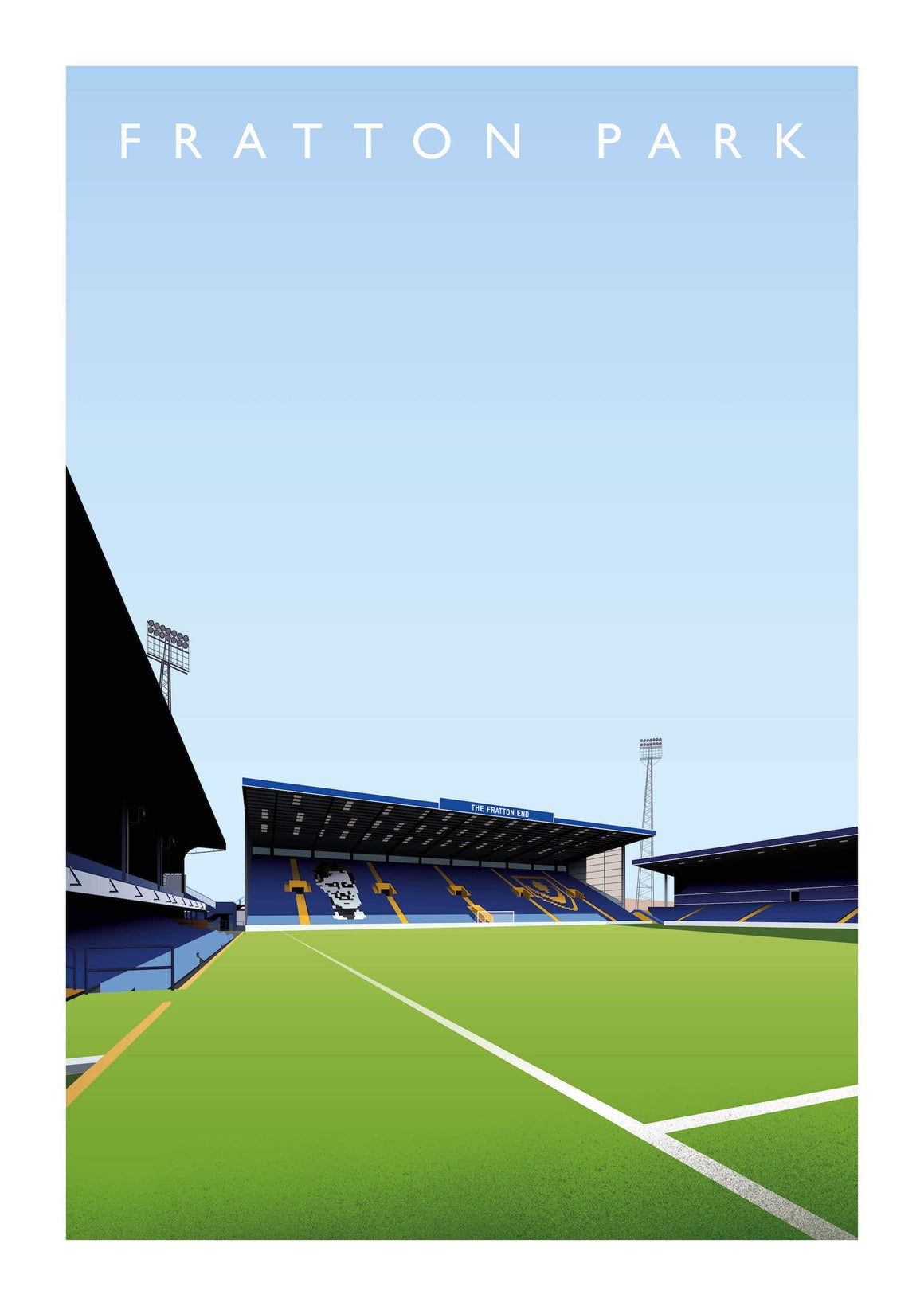 Matthew J I Wood Illustrated poster of Portsmouth ground Fratton Park