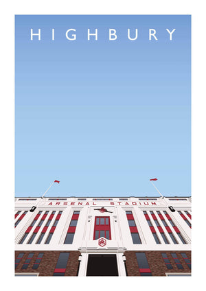 Matthew J I Wood Illustrated poster of Arsenal ground and former stadium Highbury