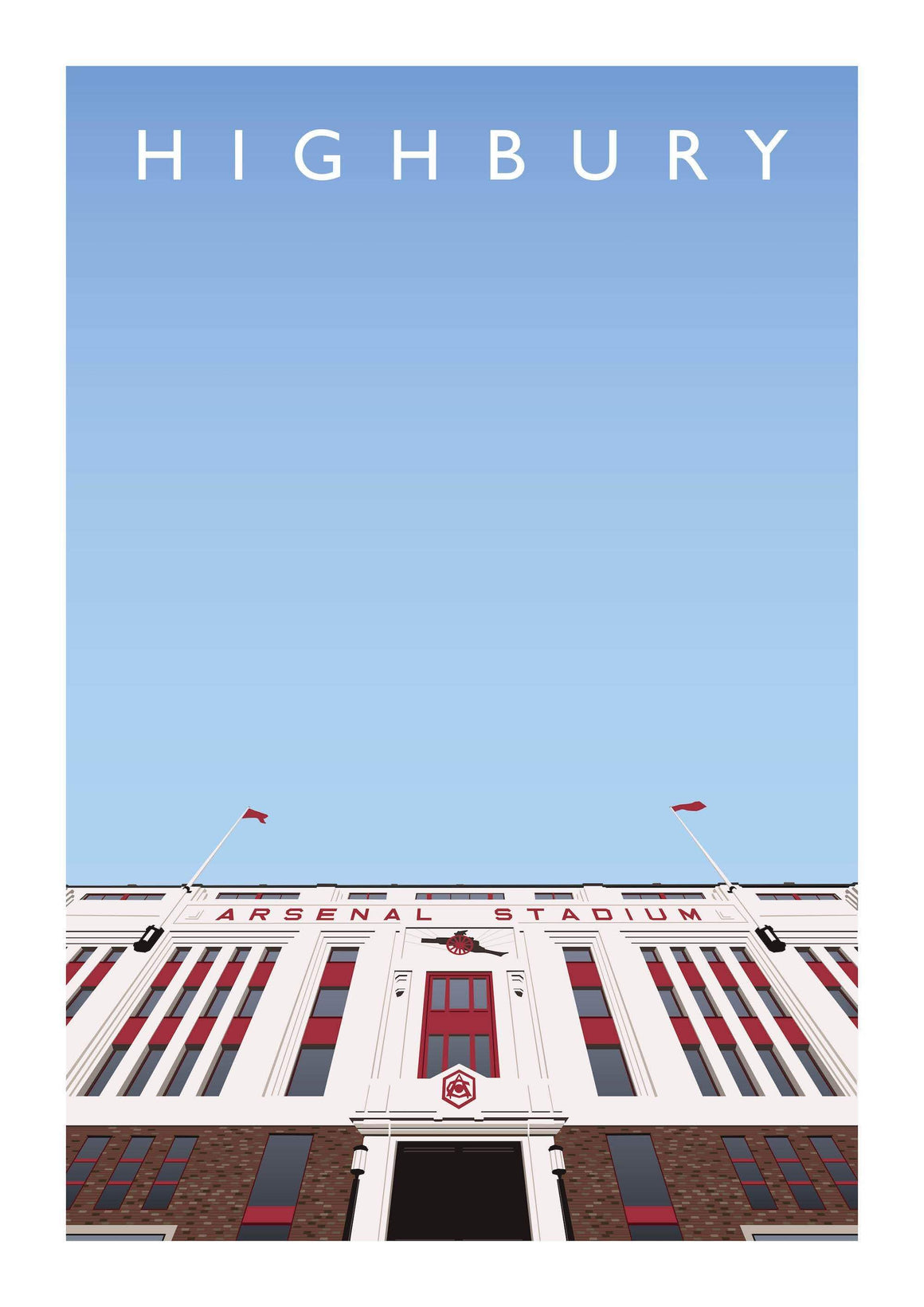 Illustrated poster of Arsenal ground and former stadium Highbury - Football Shirt Collective