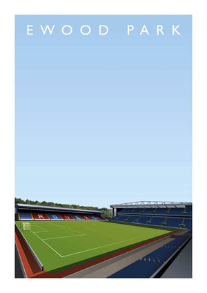 Matthew J I Wood Illustrated poster of Blackburn Rovers ground Ewood Park