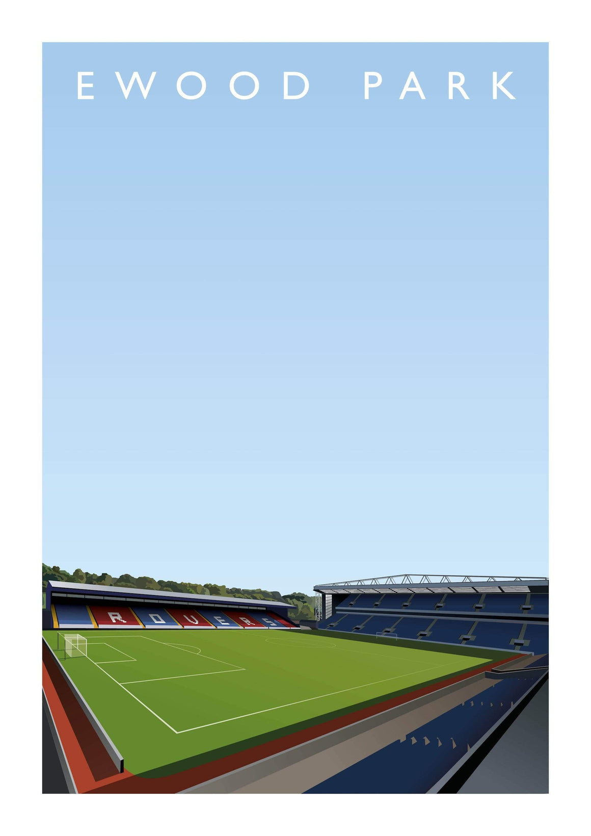 Illustrated poster of Blackburn Rovers ground Ewood Park - Football Shirt Collective
