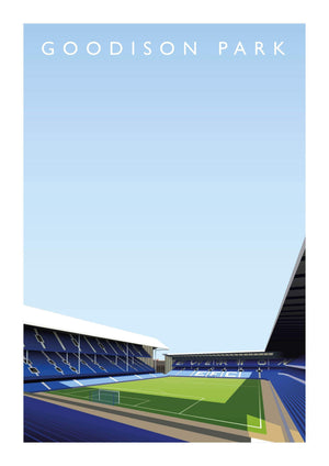 Illustrated poster of Everton ground and stadium Goodison Park - Football Shirt Collective