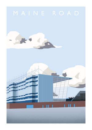 Matthew J I Wood Illustrated poster of former Manchester City ground Maine Road