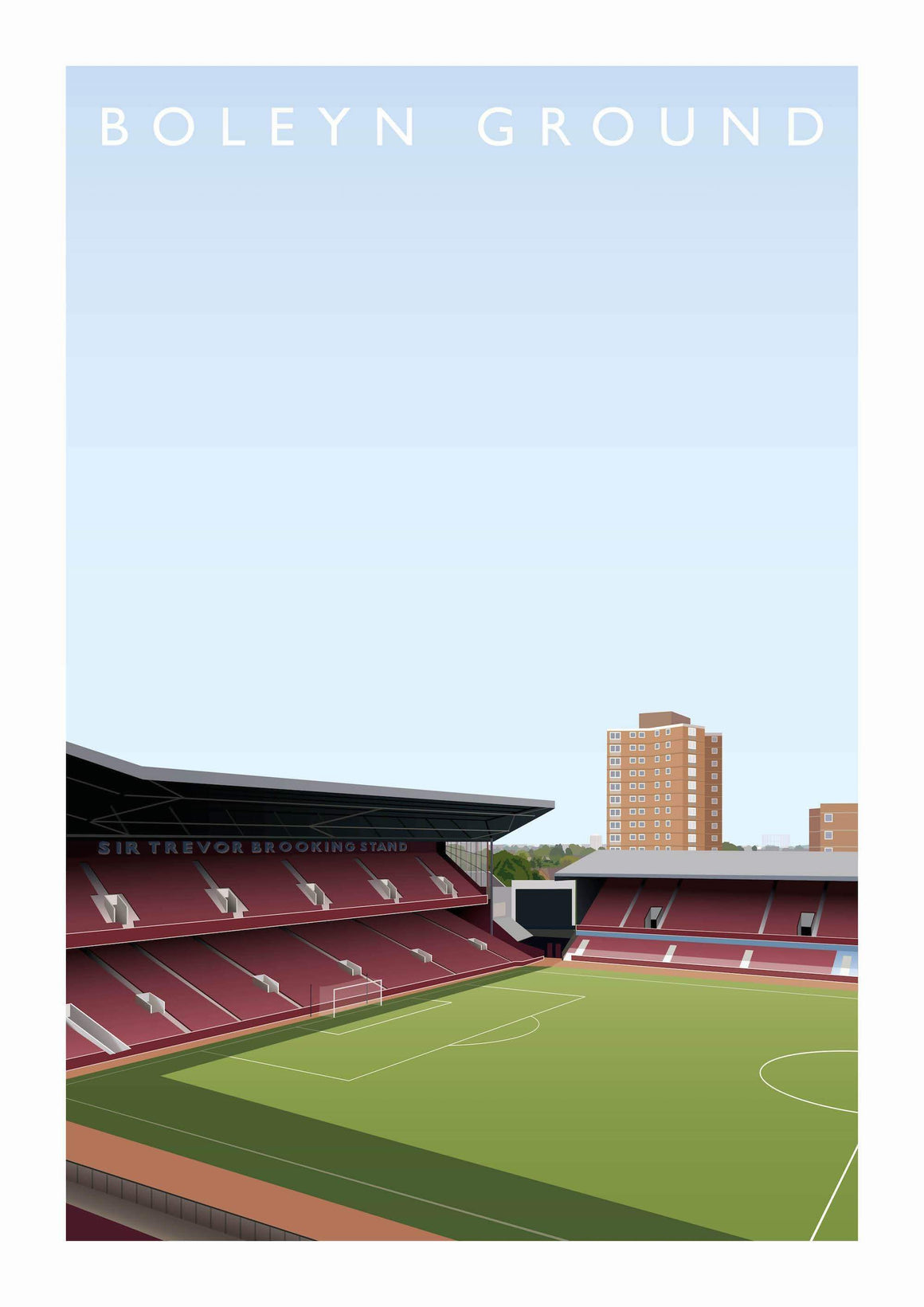 Illustrated poster of former West Ham stadium the Boleyn Ground - Football Shirt Collective