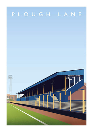 Illustrated poster of former Wimbledon ground Plough Lane - Football Shirt Collective