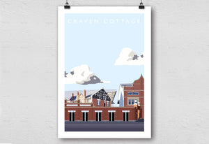 Illustrated poster of Fulham ground Craven Cottage - Football Shirt Collective