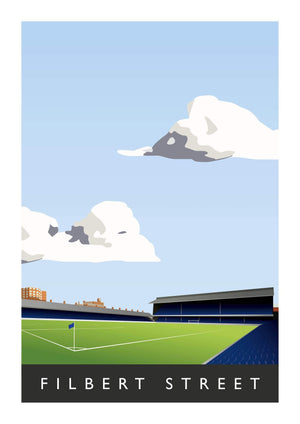 Illustrated poster of Leicester City ground Filbert Street - Football Shirt Collective