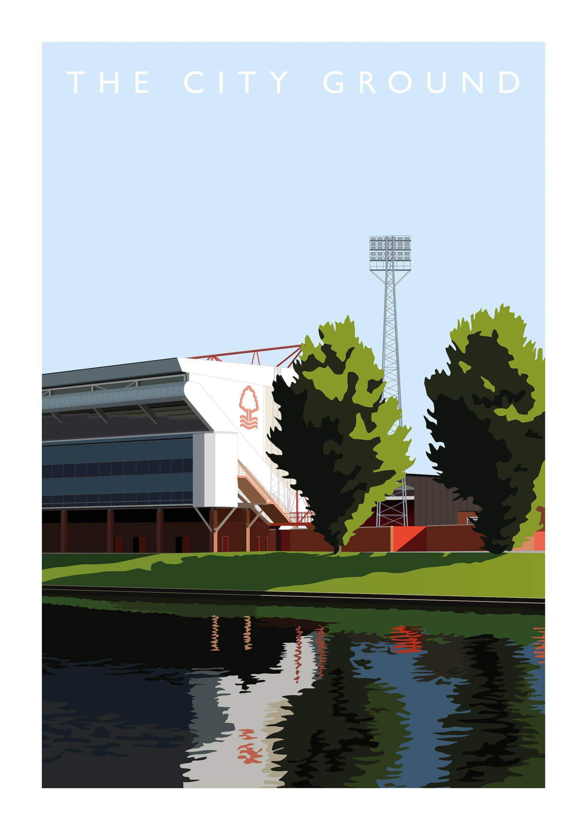 Matthew J I Wood Illustrated poster of Nottingham Forest stadium the City Ground