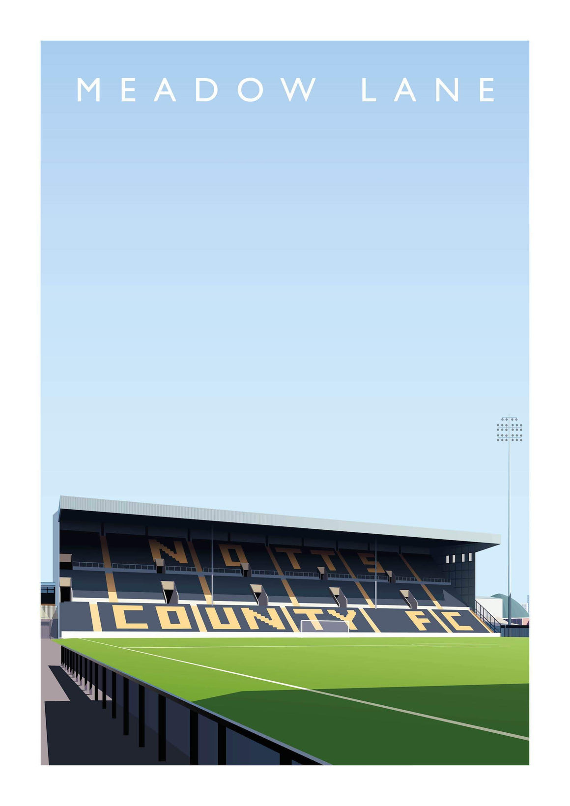Matthew J I Wood Illustrated poster of Notts County ground Meadow Lane