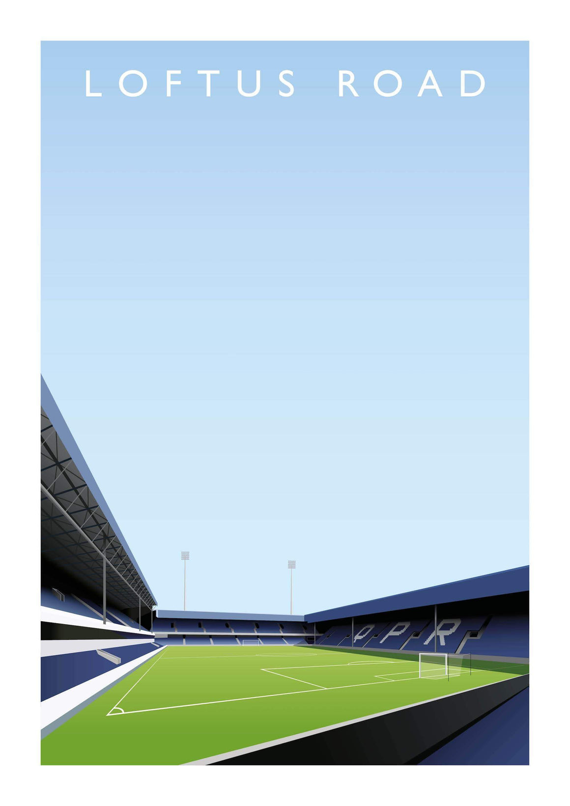 Illustrated poster of QPR ground Loftus Road - Football Shirt Collective