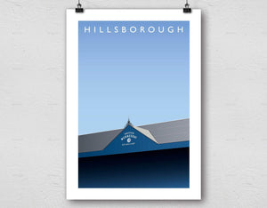 Illustrated poster of Sheffield Wednesday ground Hillsborough - Football Shirt Collective