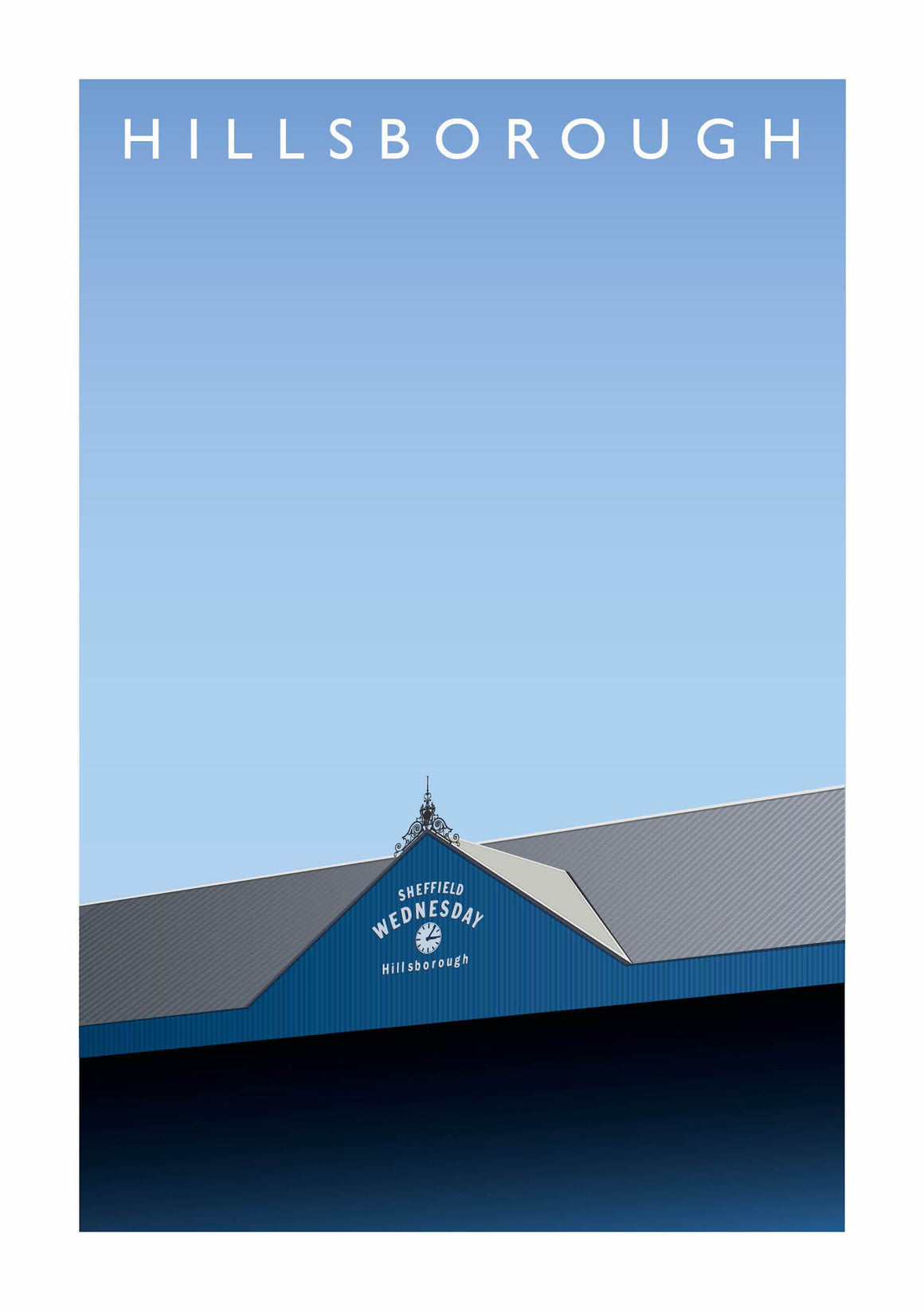 Matthew J I Wood Illustrated poster of Sheffield Wednesday ground Hillsborough