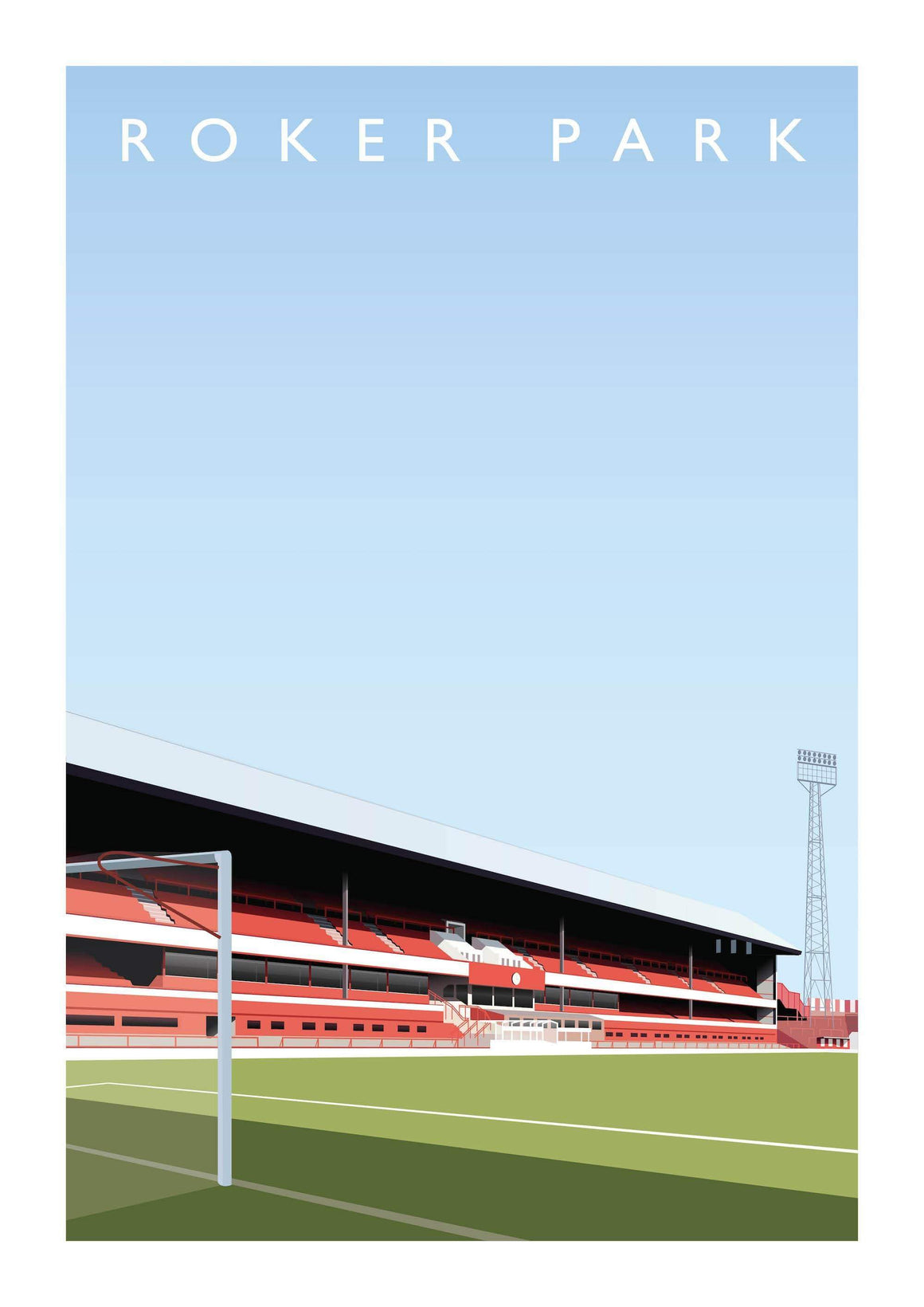 Illustrated poster of Sunderland ground Roker Park - Football Shirt Collective