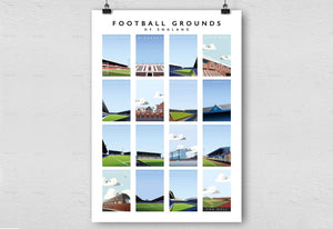 Matthew J I Wood Illustrated poster of the football grounds of England
