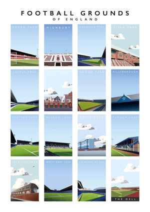 Illustrated poster of the football grounds of England - Football Shirt Collective