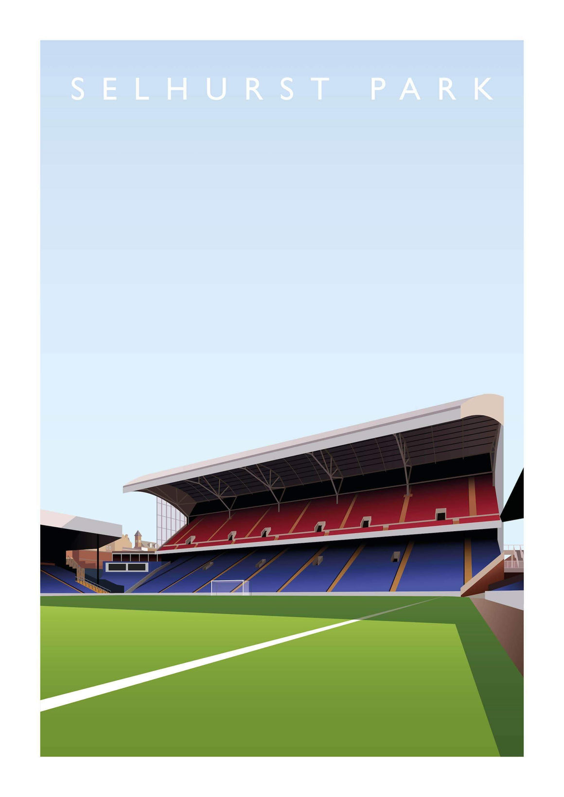 Matthew J I Wood Poster of Crystal Palace ground Selhurst Park view from the dugout