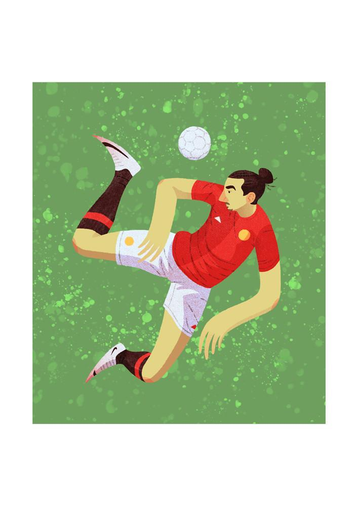 Zlatan Ibrahimovic Manchester United Illustration - Football Shirt Collective