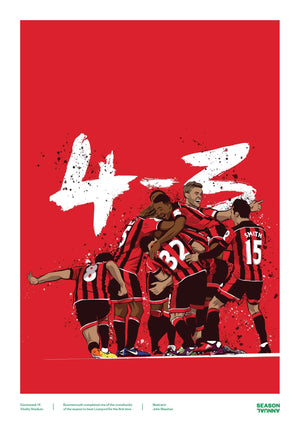 Season Annual A3 poster of Bournemouth's comeback against Liverpool for 4-3
