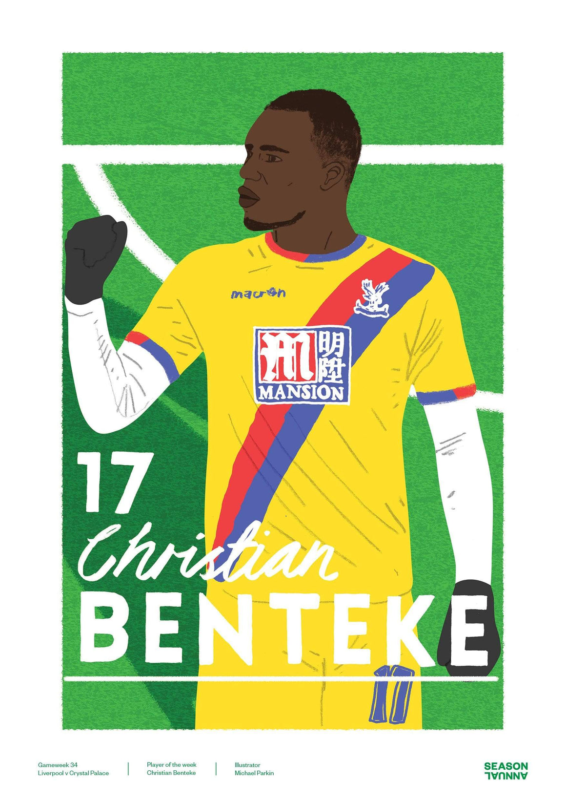 Season Annual A3 poster of Christian Benteke of Crystal Palace