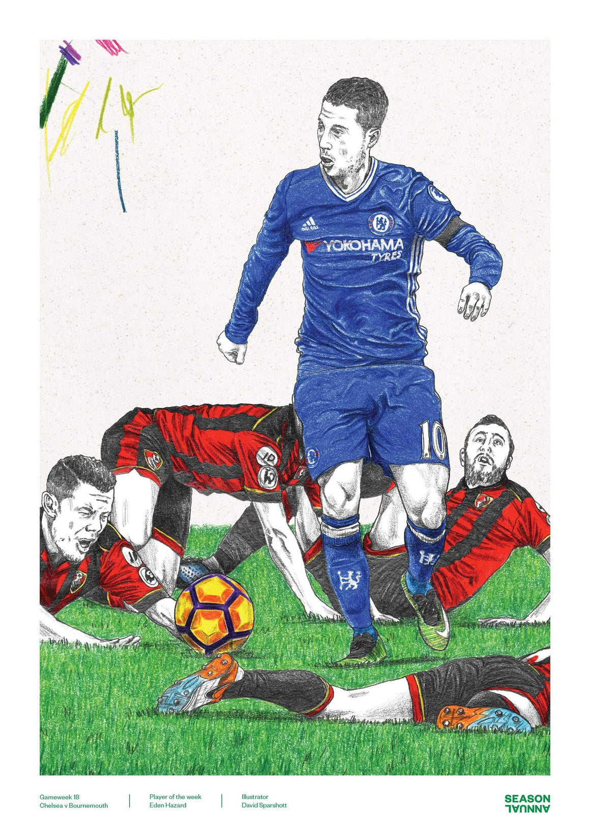 Season Annual A3 poster of Eden Hazard running the show for Chelsea v Bournemouth
