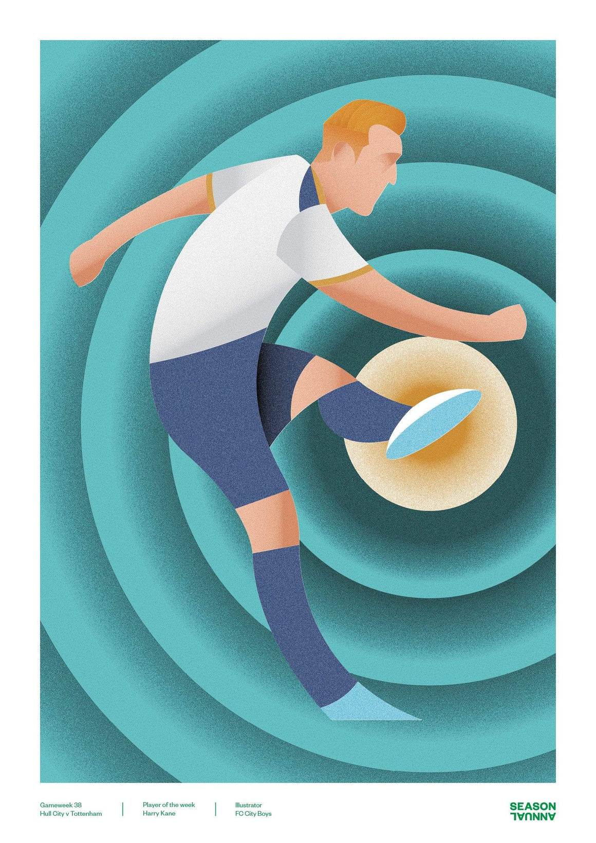 Season Annual A3 poster of Harry Kane celebrating his performance for Spurs v Hull City