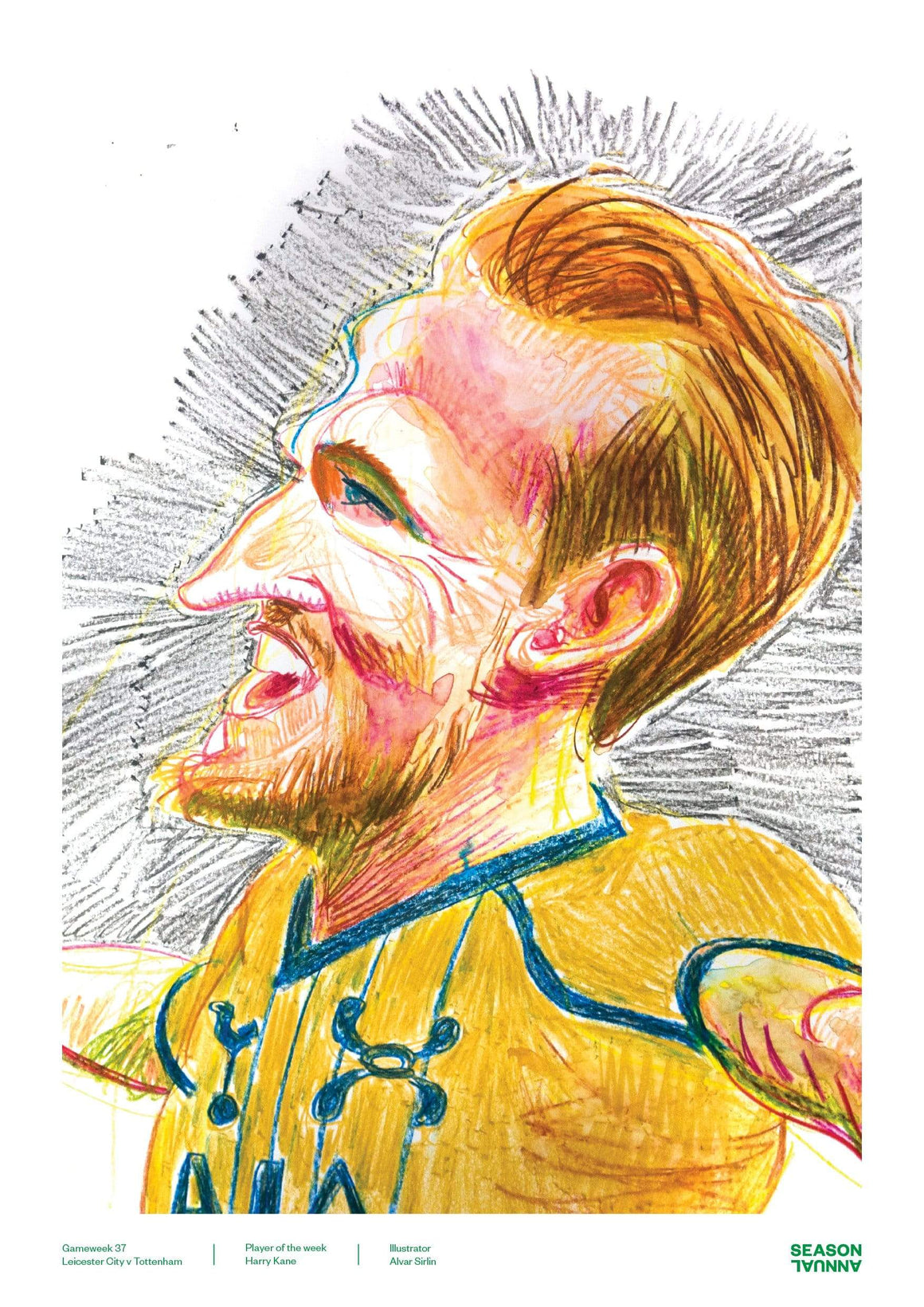 Season Annual A3 poster of Harry Kane celebrating his performance v Leicester City